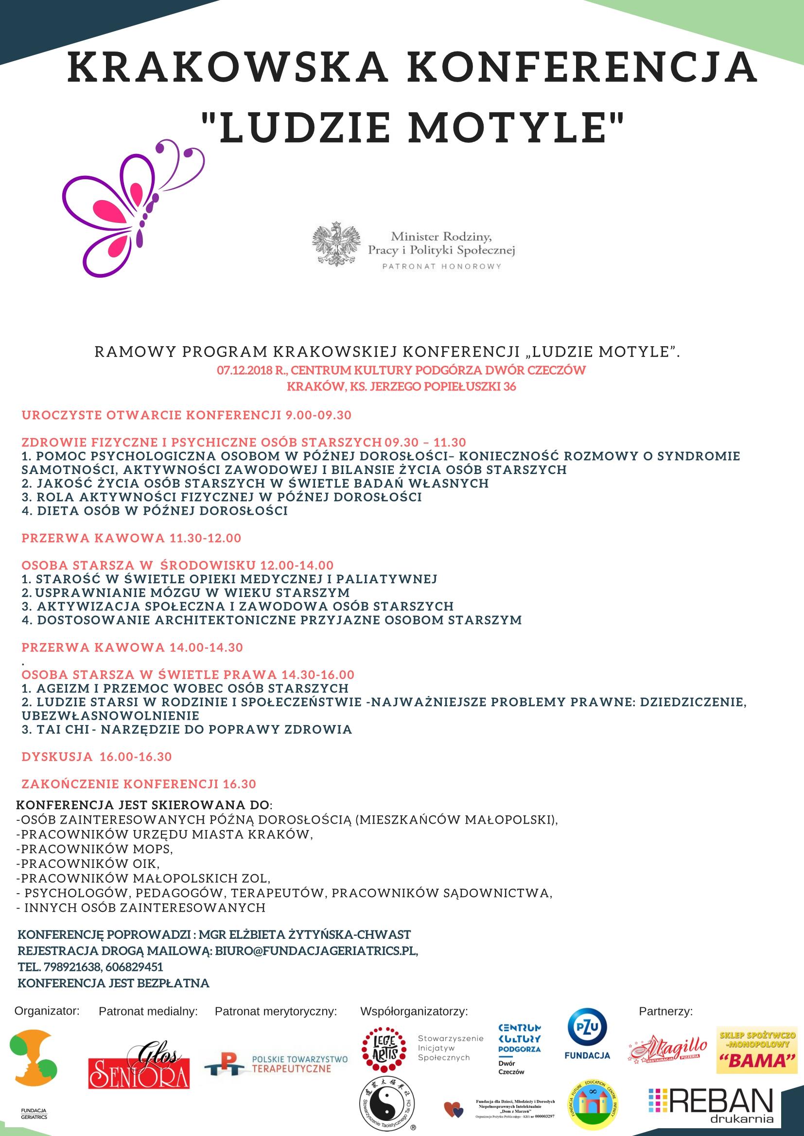 Zaproszenie na Krakowską Konferencję Ludzie Motyle 07.12.2018r