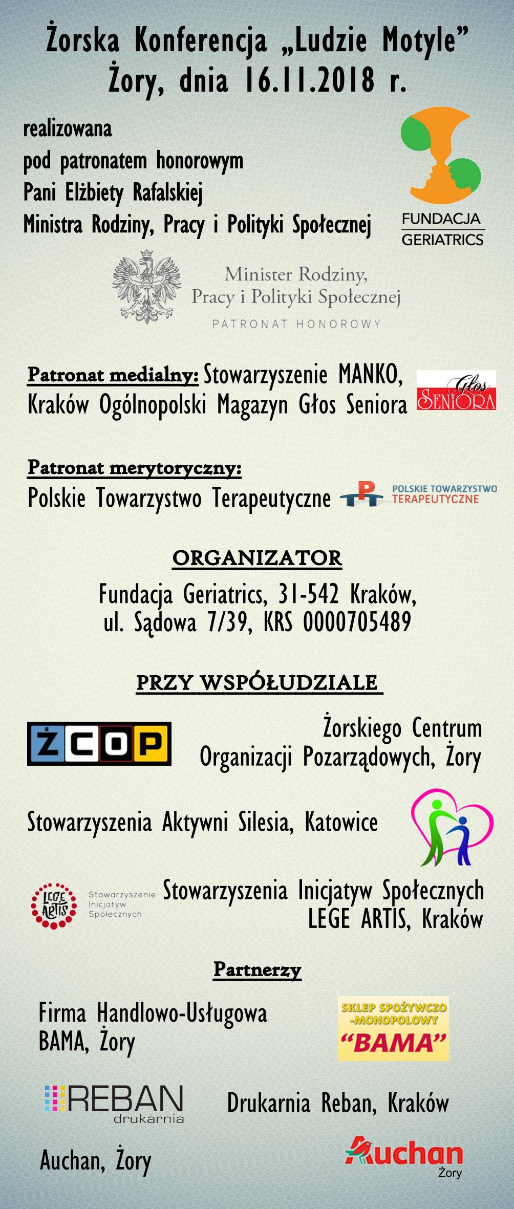 """Żorska Konferencja """"Ludzie motyle""""- 16.11.2018r (piątek)"""