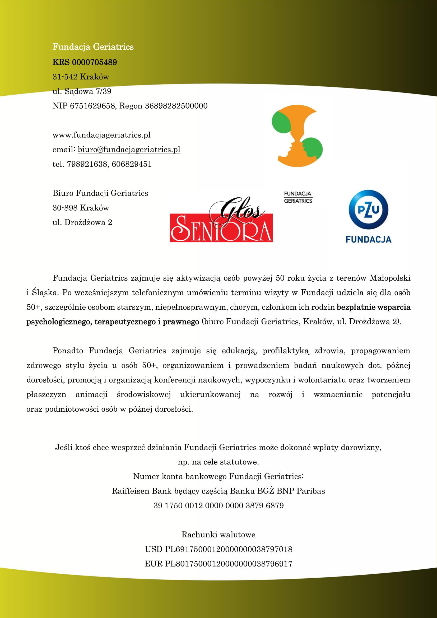 Klub Aktywnego Seniora w Krakowie – informacja o działalności w 2019r