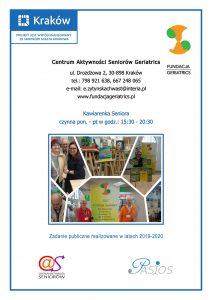 CENTRUM AKTYWNOŚCI SENIORÓW GERIATRICS -ZAPRASZA, UL. DROŻDŻOWA 2, 30-898 KRAKÓW