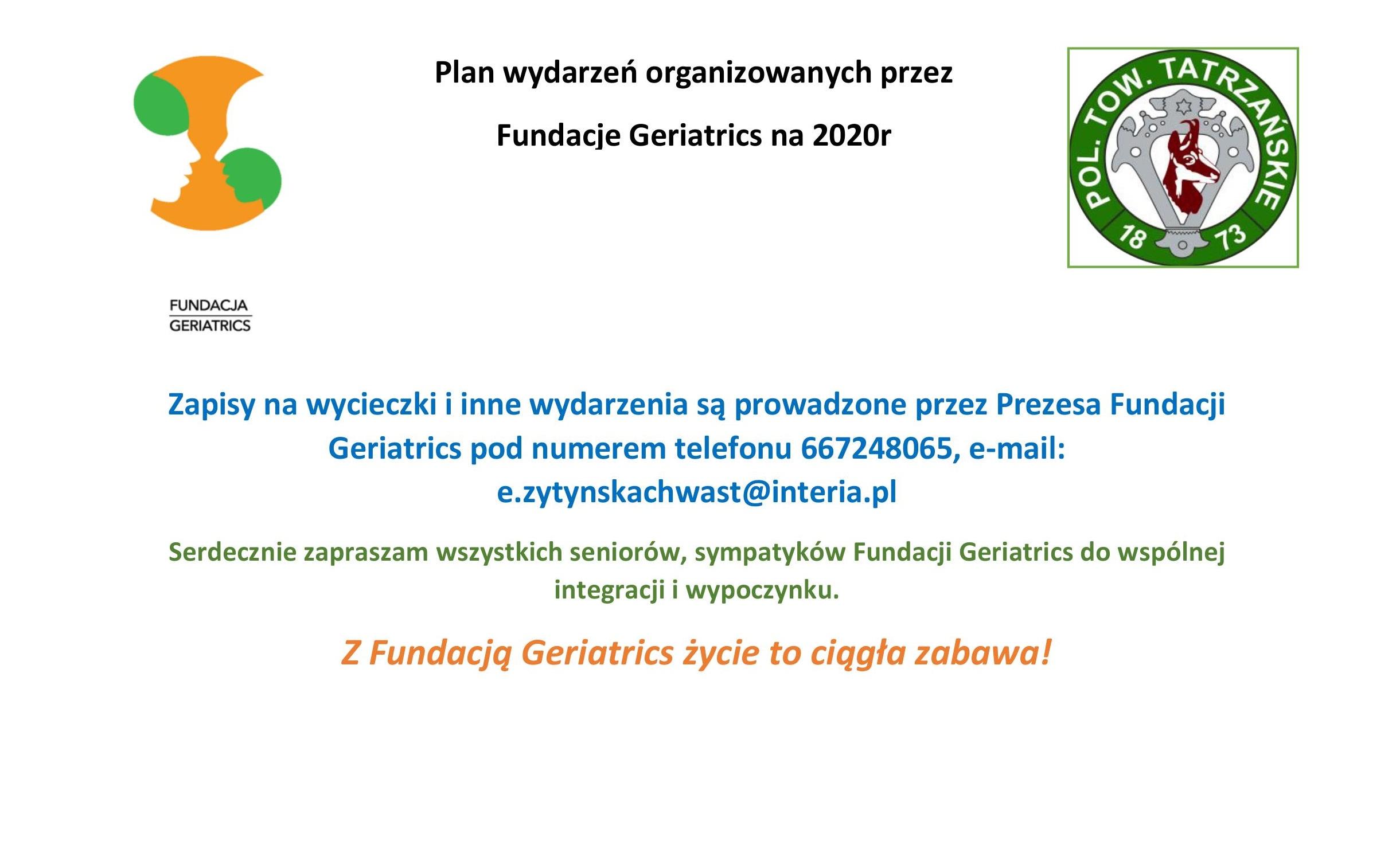 Plan wydarzeń organizowanych przez  Fundacje Geriatrics na 2020r