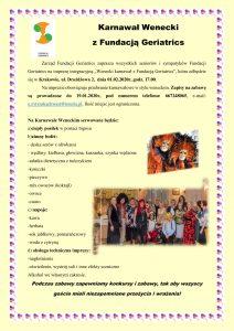 01.02.2020 Karnawał Wenecki z Fundacją Geriatrics (zabawa przebierana)