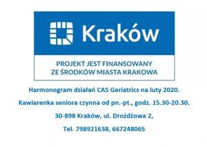 Harmonogram działań CAS Geriatrics luty 2020r