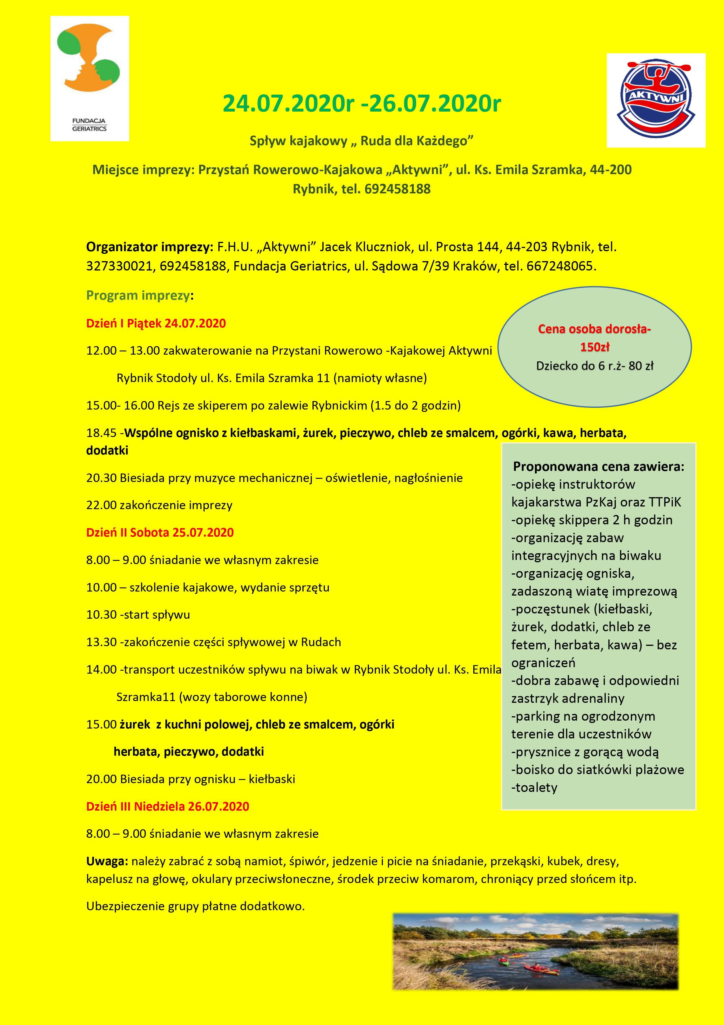 """27.07.2020-26.07.2020 Spływ Kajakowy """"Ruda dla Każdego"""""""